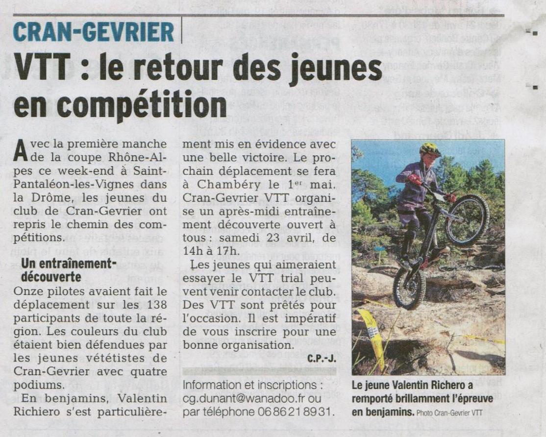 Dauphiné Reprise compétitions 19 avril 2016
